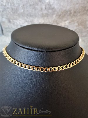 Нежна гривна от позлатена стомана, класическа плетка, нежни заоблени звена, 4 дължини, широка 0,4 см - G2075