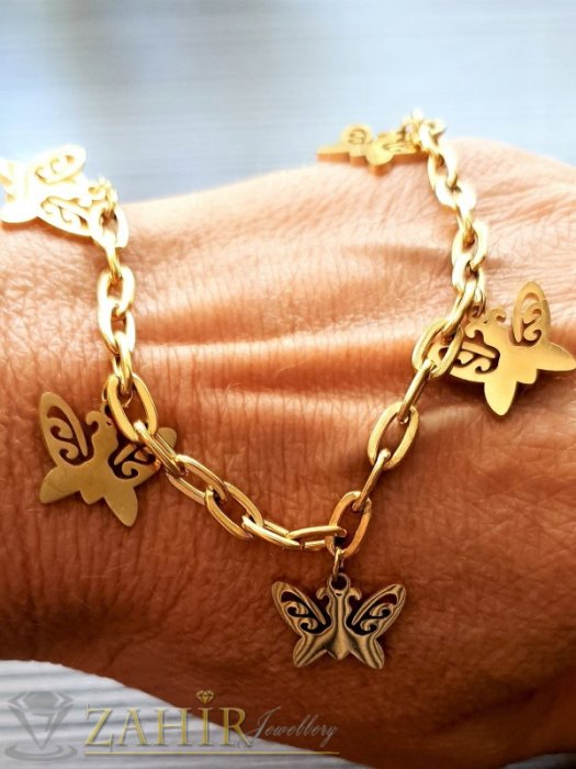 Дамски бижута - Уникална верижка от стомана с 5 красиви висулки пеперуди по 1,5 см на регулируема гривна до 21 см, позлатена - G2080