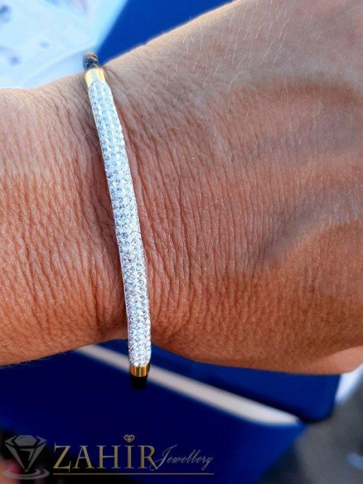 Дамски бижута - Великолепна стоманена гривна 18 см с тънка кристална извита част 6 см и черна кожена плетка, магнитна закопчалка - G2087