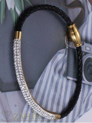 Великолепна стоманена гривна 18 см с тънка кристална извита част 6 см и черна кожена  плетка, магнитна закопчалка - G2087