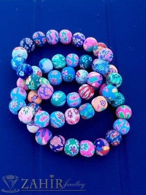 Свежи летни цветове  на рисувани топчета по 1 см всяко, супер цветна ярка ластична гривна - G2090