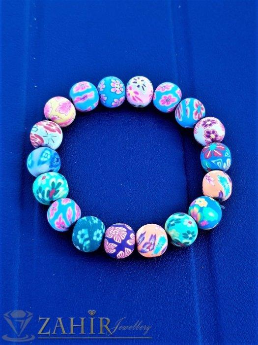 Дамски бижута - Свежи летни цветове на рисувани топчета по 1 см всяко, супер цветна ярка ластична гривна - G2090