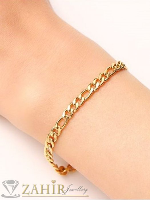 Дамски бижута - Супер верижка от стомана със златно покритие, фигаро плетка, хит модел, 4 дължини, ширина на плеткат 0,4 см - G2097