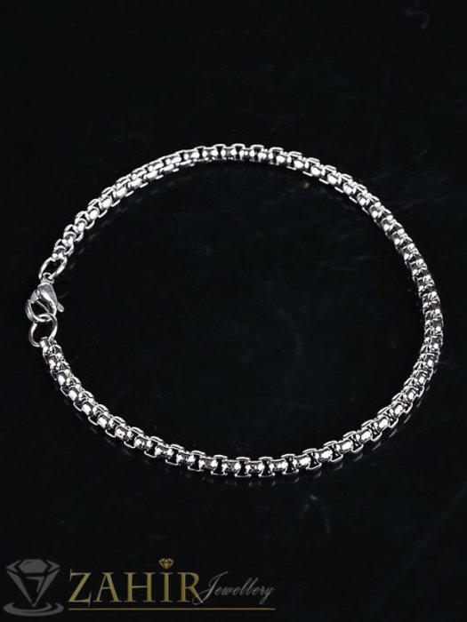 Дамски бижута - Висококачествена стоманена верижка гривна с най-желаната плетка , налична в 4 дължини, ширина на звеното 0,3 см - G2101