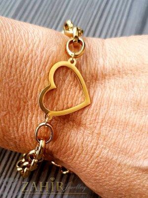 Най-харесваната стоманена верижка в 4 размера с изящно сърце 2 см, златно покритие, ширина на плетката 0.6 см - G2102