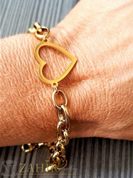 Дамски бижута - Най-харесваната стоманена верижка в 4 размера с изящно сърце 2 см, златно покритие, ширина на плетката 0.6 см - G2102