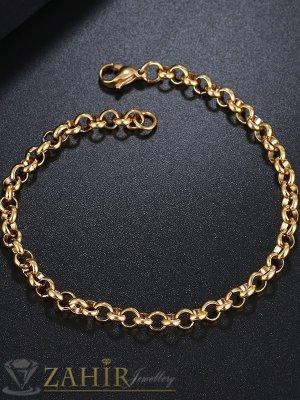 Нежна верижка за ръка  с двойно златно покритие, кръгли звена по 0,5 см, възможни 4 дължини - G2104