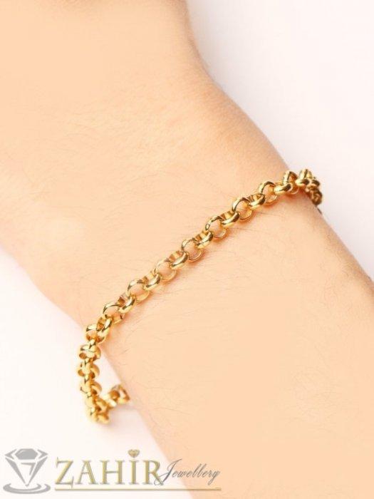 Дамски бижута - Нежна верижка за ръка с двойно златно покритие, кръгли звена по 0,5 см, възможни 4 дължини - G2104