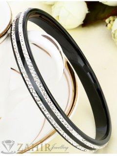 Великолепна стоманена гривна тип бенгъл от черна медицинска стомана  и 2 реда кристали, диаметър 6,5 см-G2106
