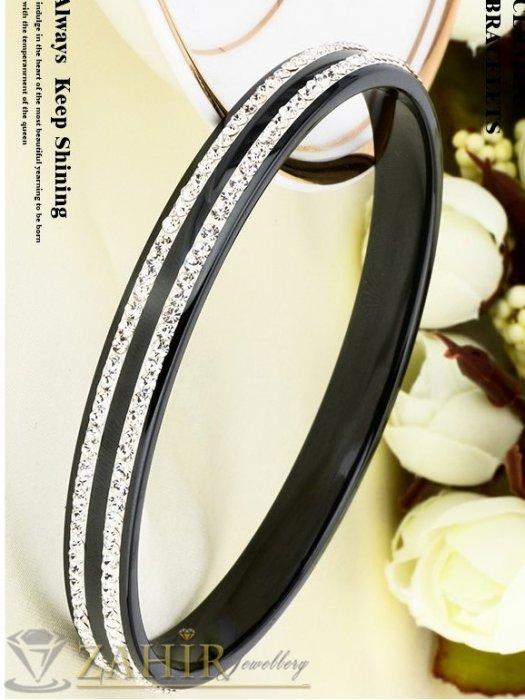Дамски бижута - Великолепна стоманена гривна тип бенгъл от черна медицинска стомана и 2 реда кристали, диаметър 6,5 см-G2106
