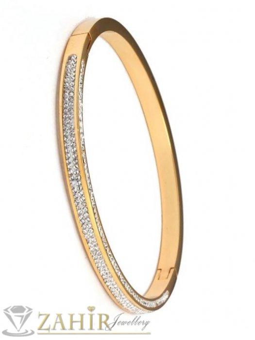 Дамски бижута - Изящна стоманена гривна тип бенгъл от позлатена медицинска стомана с 4 реда кристали, диаметър 6,5 см-G2107