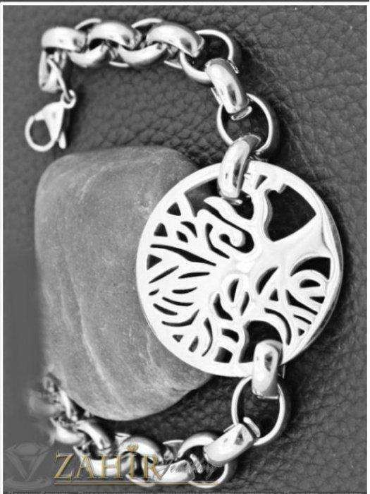 Дамски бижута - Висококачествена стоманена гривна с хит верижка и с Дървото на живота 2,3 см, 4 налични дължини - G2109