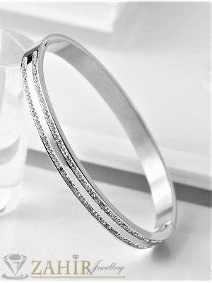 Великолепна стоманена гривна тип бенгъл от  медицинска стомана  с 2 реда кристали, диаметър 6,2 см - G2111