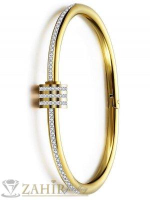 Кристална гривна изящна изработка тип бенгъл от медицинска стомана, диаметър 6 см, златно покритие - G2115