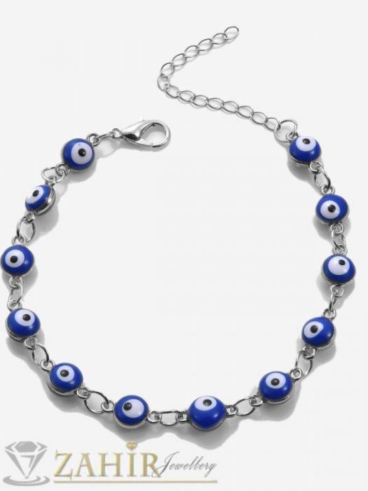 Дамски бижута - Гривна за ръка или крак против уроки с верижка от нежни сини очи, регулируема , от неръждаема стомана- GK1171