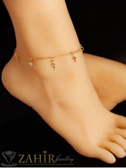 Дамски бижута - Великолепна стоманена верижка за крак с висулки 5 нежни кръстчета, златно поктитие, регулира се до 26 см - GK1181