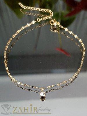Най-нежната стоманена верижка за крак с висулка малко кристалче, златно поктитие, регулира се до 26 см - GK1186
