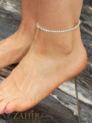 Кристална гривна за крак с нежни бели камъчета, ластична, става за всеки глезен, сребриста - GK1197