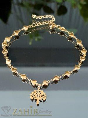 Най-желаната стоманена гривна за ръка от нежни сърца с висулка Дървото на живота, регулира се до 20 см - G2126