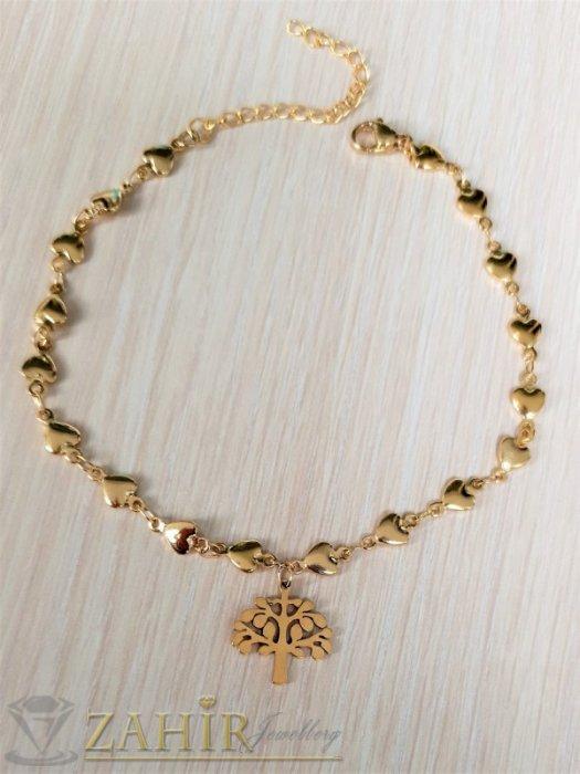 Дамски бижута - Най-желаната стоманена гривна за ръка от нежни сърца с висулка Дървото на живота, регулира се до 20 см - G2126