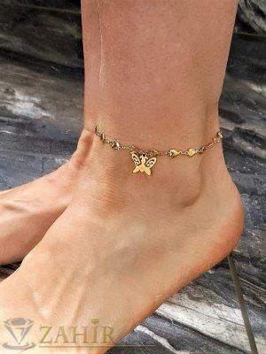 Най-желаната стоманена гривна за крак от нежни сърца с висулка пеперуда 1,5 см, регулира се до 26 см - GK1205