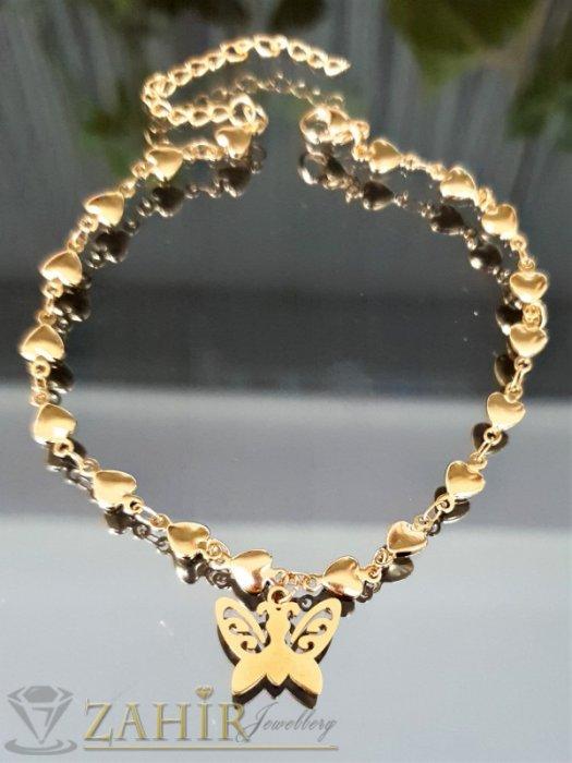 Дамски бижута - Най-желаната стоманена гривна за крак от нежни сърца с висулка пеперуда 1,5 см, регулира се до 26 см - GK1205