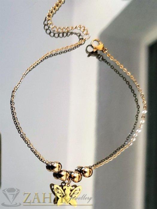 Дамски бижута - Високо качество стоманена позлатена гривна за глезен с 4 топчета и висулка пеперуда, регулира се до 26 см - GK1231