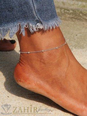 Непроменяща цвета си стоманена гривна за крак тип верижка супер плетка с нежни топчета, регулира се - GK1236