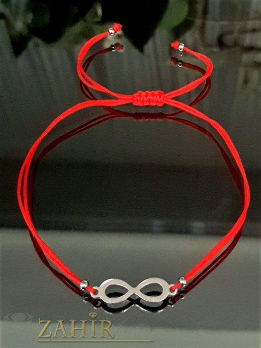 Дамски бижута - Гривна за глезен против уроки със стоманен елемент безкрайност, червена корда, регулируема дължина - GK1239