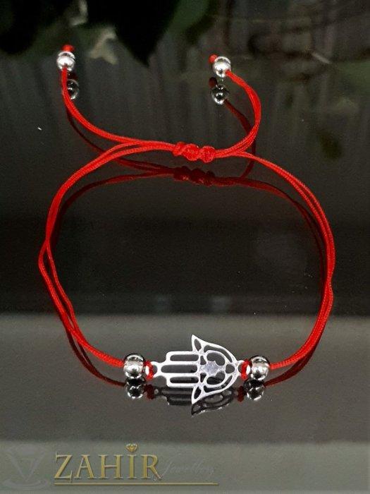 Дамски бижута - Гривна за глезен против уроки със символ стоманена Ръката на Фатима, червена корда, регулируема дължина - GK1241