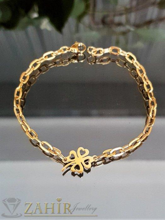 Дамски бижута - Късметлийска гривна за крак или ръка с четирилистна детелина и стилна плетка на стоманена позлатена верижка - GK1244