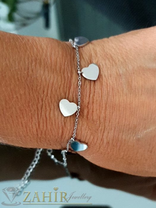 Дамски бижута - Много сладка гривна за ръка с 5 нежни стоманени сърца, верижка от стомана дълга 16 с удължител 5 см - GK1246