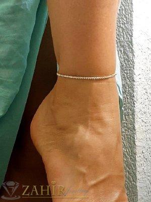 Кристална ластична гривна за крак с бели кристалчета и златно покритие, става за всеки глезен - GK1258