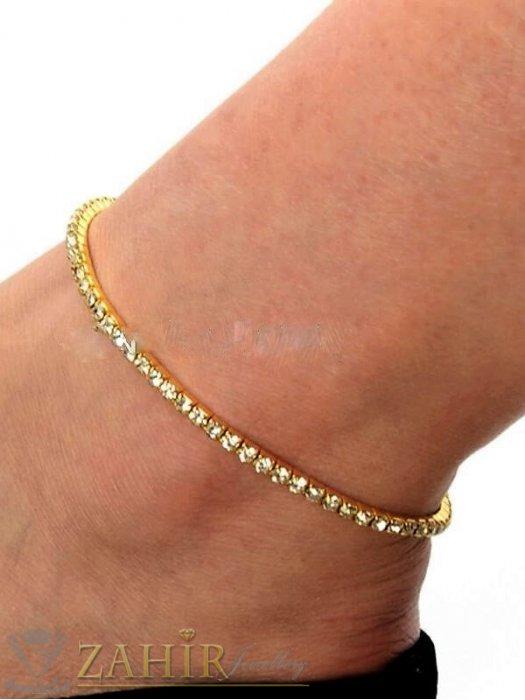 Дамски бижута - Кристална ластична гривна за крак с бели кристалчета и златно покритие, става за всеки глезен - GK1258