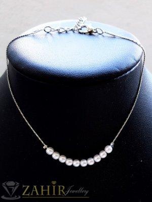 Перлена гривна за глезен с 5 малки перлички, сребърно покритие, регулира се до 26 см дължина - GK1263