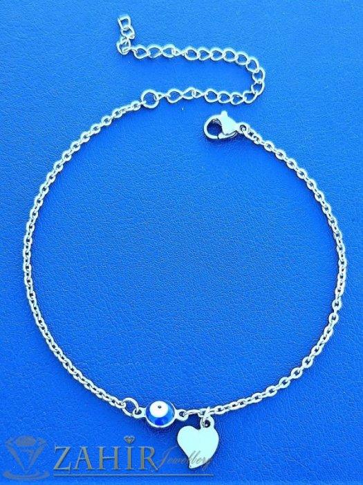Дамски бижута - Високо качество гривна за глезен с класическа верижка със синьо око и сърце , дълга 22+ 5 см ,неръждаема стомана - GK1265