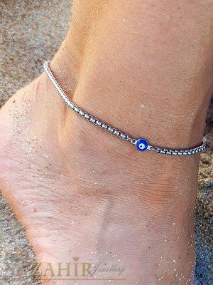 Високо качество гривна за глезен с уникална верижка със синьо око , дълга 22+ 5 см ,неръждаема стомана - GK1271