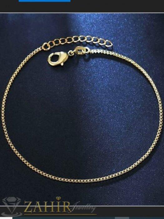 Дамски бижута - Високо качество гривна за глезен с уникална верижка изчистен модел , дълга 22+ 5 см ,основа стомана, златно покритие - GK1273