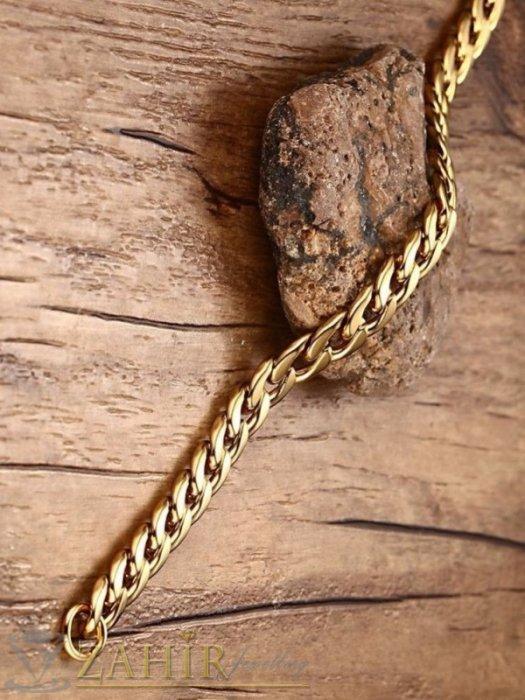 Мъжки бижута - Класическа стоманена гривна с нежни заоблени звена от позлатена стомана в 4 дължини, широка 0,6 см - GS1381