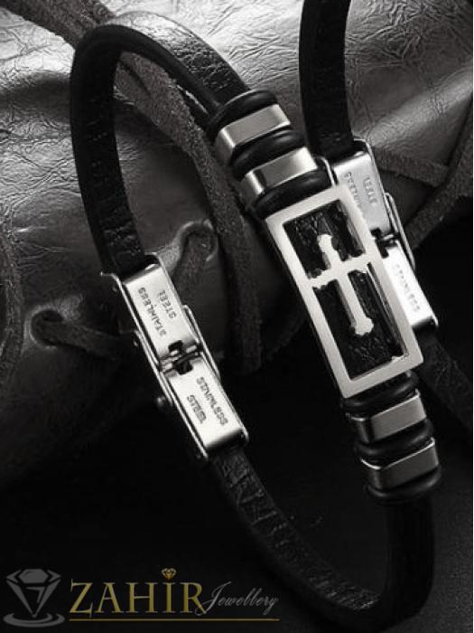 Мъжки бижута - Класическа силиконова гривна 20 см, широка 1 см със стоманена плочка със стоманен кръст 5 см, стоманени детайли - GS1386