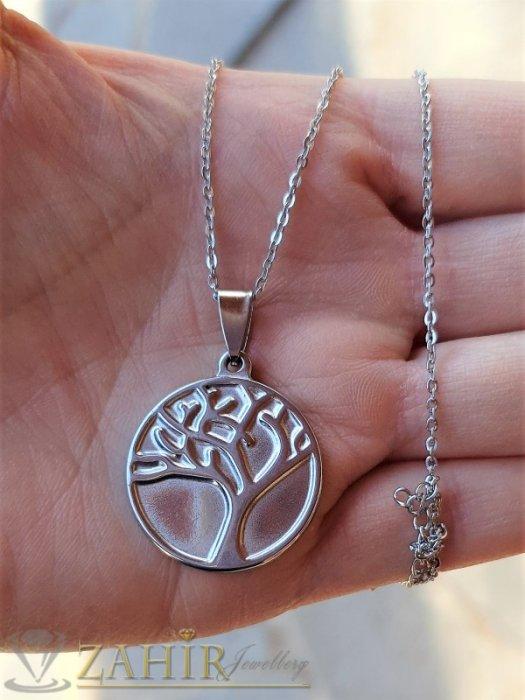 Дамски бижута - Стоманен медальон Дървото на живота 2,5 см на нежно стоманено синджирче 50 см - K2020