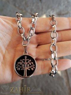 ХИТ стоманен медальон Дървото на живота 2,5 см на стоманена верижка в 4 размера, широка 0,6 см - K2021