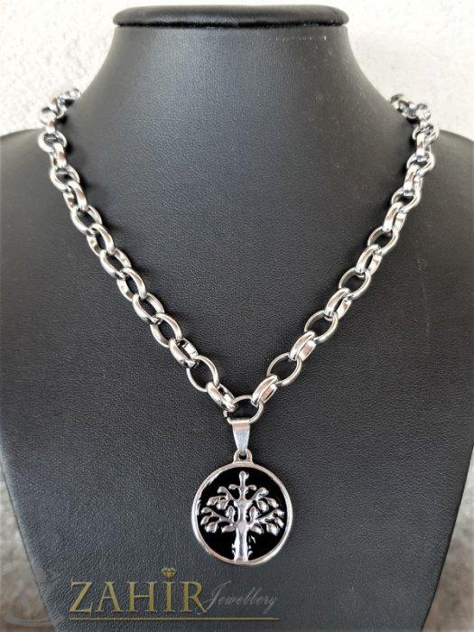 Дамски бижута - ХИТ стоманен медальон Дървото на живота 2,5 см на стоманена верижка в 4 размера, широка 0,6 см - K2021