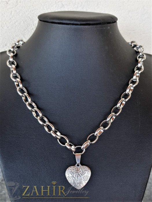 ТОП качество стоманен медальон Гравирано сърце 2 см на стоманена верижка в 4 размера, широка 0,6 см - K2022