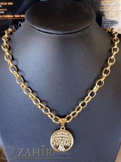 ХИТ позлатен стоманен медальон Дървото на живота 2,3 см на супер верижка в 4 размера, широка 0,6 см - K2023