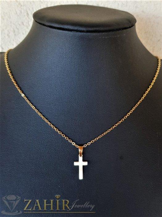 Дамски бижута - Много нежно стоманено позлатено кръстче 2 см на тънко стоманено синджирче 50 см - K2025