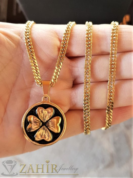 Дамски бижута - Дизайнерски медальон 2,5 см с четирилистна детелина на тънко стоманено синджирче 56 см, широко 0,3 см - K2026