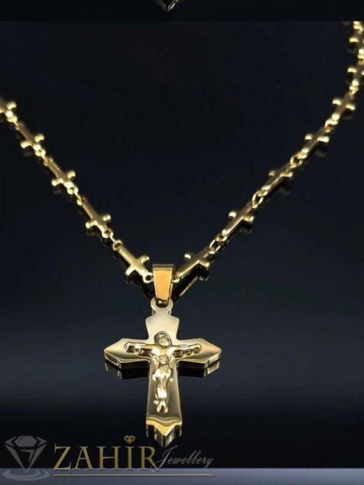 Дамски бижута - Верижка от кръстове 50 см от позлатена стомана с висулка стоманен кръст с Исус 3 см - K2028