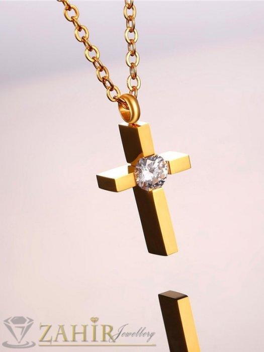 Много нежно кръстче 2,5 см с голям кристал на класическа верижка 50 см, стомана със златно покритие - K2030