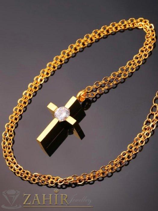 Дамски бижута - Много нежно кръстче 2,5 см с голям кристал на класическа верижка 50 см, стомана със златно покритие - K2030